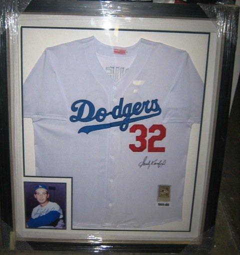 8: Sandy Koufax Framed Signed Dodgers Jersey