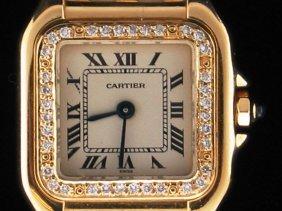 10: Ladies Cartier Gold & Diamond Watch