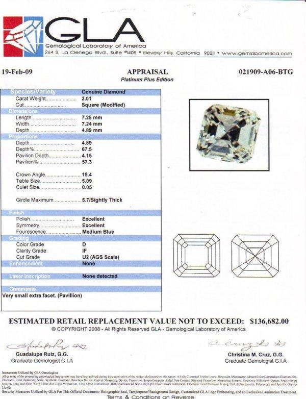 16: Square Diamond Solitaire 2ct, D Color, IF