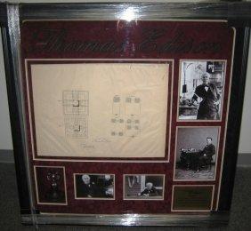 60: Thomas Edison Framed Signed Light Bulb Patent