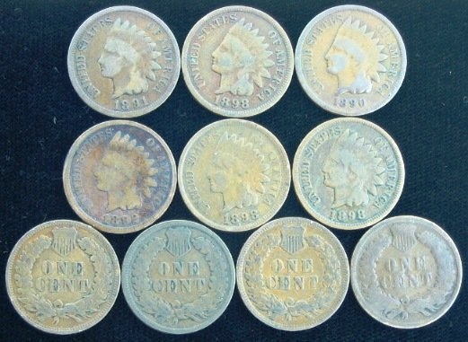 195: Indian Head Penny (1890-1901) Lot of (10)