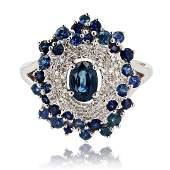 165 ctw Blue Sapphire and 014 ctw Diamond 14K White