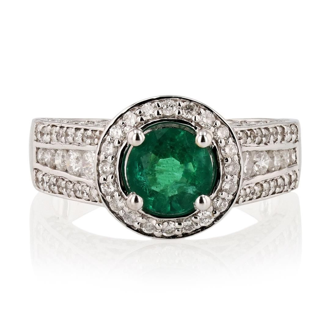 0.95 ctw Emerald and 1.13 ctw Diamond 14K White Gold