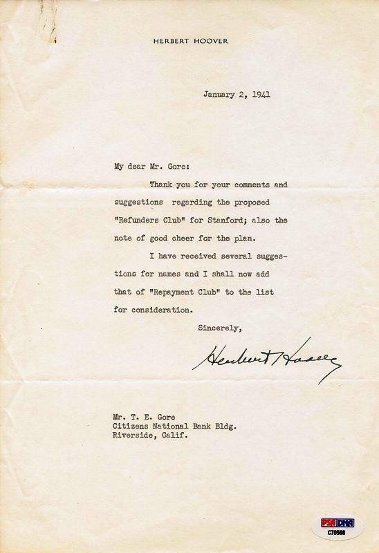 Pres. Herbert Hoover Signed Letter PSA/DNA