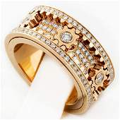 New 18K Rose Gold 275 ctw Spinning Gear Diamond Ring