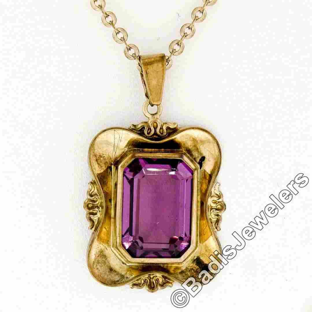 Victorian 8kt Gold Octagonal Bezel Set Amethyst