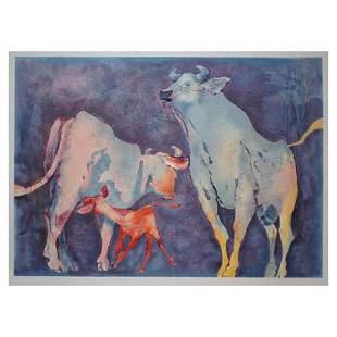 "Edwin Salomon, ""bull family"" Hand Signed Limited"