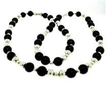 Tiffany & Co. Sterling Silver & Black Onyx Graduated