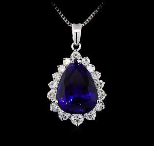 14KT White Gold GIA Certified 23.12 ctw Tanzanite and