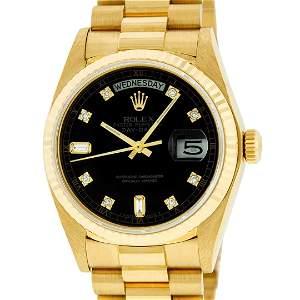 Rolex Mens 18K Yellow Gold Black Diamond Quickset