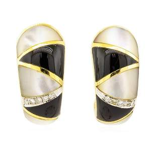 0.10 ctw Diamond, Onyx, and Mother of Pearl Earrings -