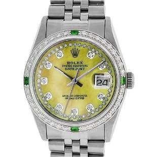 Rolex Mens Stainless Steel Yellow MOP & Emerald