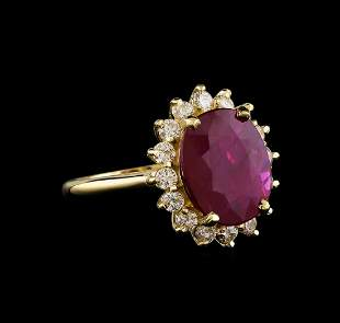 GIA Cert 5.56 ctw Ruby and Diamond Ring - 14KT Yellow