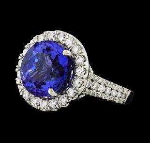 GIA Cert 8.56 ctw Tanzanite and Diamond Ring - 14KT