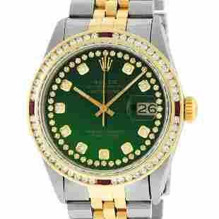 Rolex Mens 2 Tone Green String Diamond & Ruby Diamond