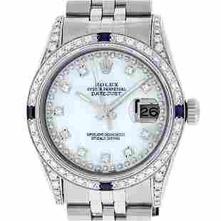 Rolex Mens Stainless Steel Diamond Lugs MOP Diamond &