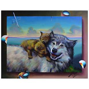 """Ferjo, """"Play Time"""" Original Painting on Canvas, Hand"""