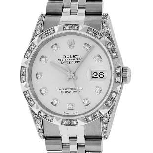 Rolex Mens Stainless Steel Silver Diamond Lugs &
