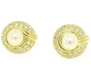 18kt Yellow Gold 1.25 ctw Cultured Pearl and Diamond