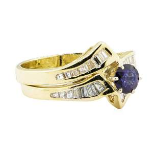 1.03 ctw Blue Sapphire And Diamond Ring And Band - 14KT