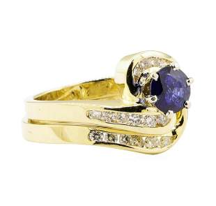 1.47 ctw Blue Sapphire And Diamond Ring And Band - 14KT