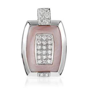 18k White Gold 0.57CTW Mother Of Pearl and Diamond
