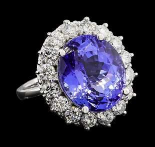 GIA Cert 12.99 ctw Tanzanite and Diamond Ring - 14KT