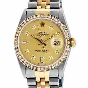 Rolex Mens 2 Tone Champagne Diamond 36MM Datejust