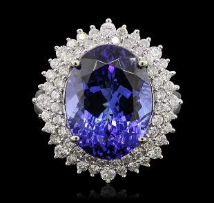 14KT White Gold 11.01 ctw GIA Certified Tanzanite and
