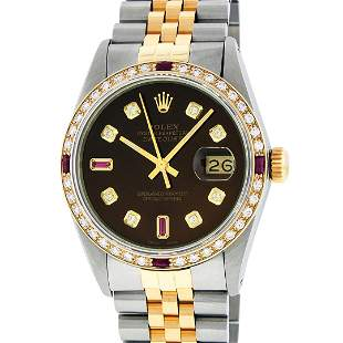 Rolex Mens 2T Brown Diamond & Ruby 36MM Oyster