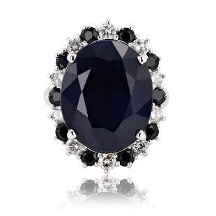 18.60 ctw Dark Blue Sapphire and 0.83 ctw Diamond 14K
