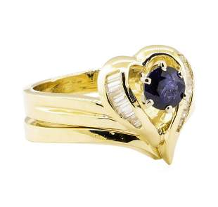 0.92 ctw Blue Sapphire And Diamond Ring And Band - 14KT