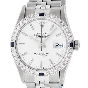 Rolex Mens Stainless Steel Silver Index Diamond &