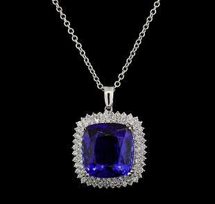 GIA Cert 40.78 ctw Tanzanite and Diamond Pendant With