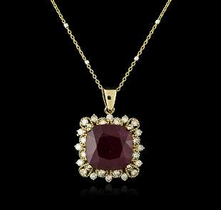 14KT Yellow Gold 9.97 ctw Ruby and Diamond Pendant With