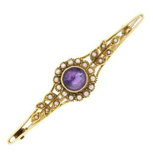 15k Yellow Gold .64 ctw Old Cut Amethyst & Seed Pearl