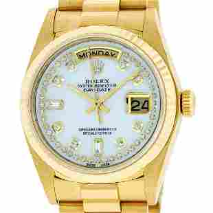 Rolex Mens 18K Yellow Gold Mother Of Pearl Diamond