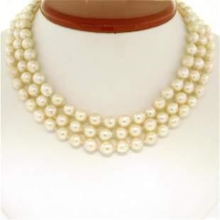 "Three Strand Baroque Pearl 14"" Choker Necklace w/ 14K"