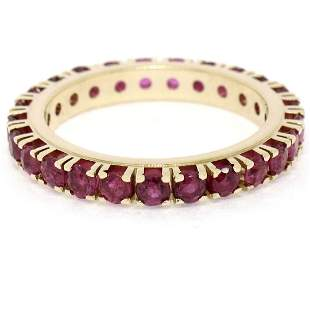 14K Yellow Gold 2.75 ctw 25 Prong Set Blood Red Ruby
