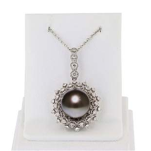 12.5mm Tahitian Pearl and 0.73 ctw Diamond 18K White