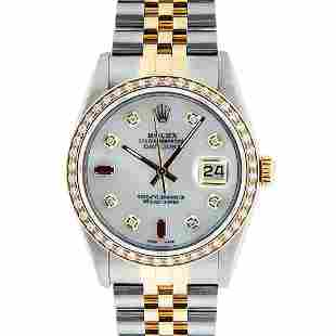 Rolex Mens 2 Tone Mother Of Pearl Diamond 36MM Oyster