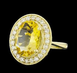 4.22 ctw Citrine Quartz  and Diamond Ring - 14KT Yellow