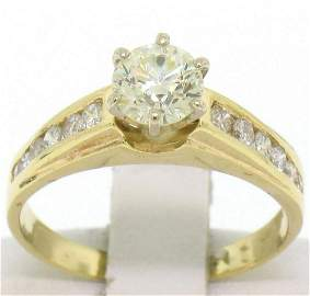 14k Solid Yellow Gold Round Diamond Solitaire