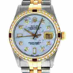 Rolex Mens 2T Mother Of Pearl Diamond & Ruby Datejust