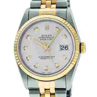 Rolex Mens 2 Tone Silver Diamond 36MM Datejust