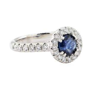 1.42 ctw Sapphire And Diamond Ring - 14KT White Gold