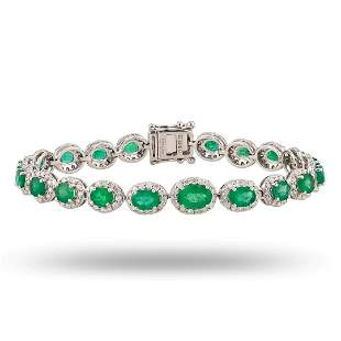 7.50 ctw Emerald and 2.42 ctw Diamond 18K White Gold