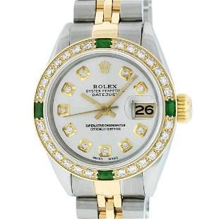 Rolex Ladies 2 Tone Silver Diamond & Emerald 26MM