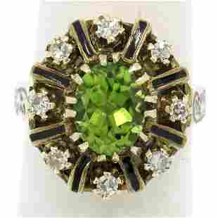 Vintage 14K Yellow Gold 2.43 ctw Oval Peridot Diamond &