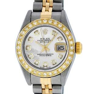 Rolex Ladies Quickset 2 Tone Mother Of Pearl Diamond